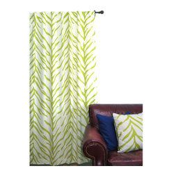 EZ Living Home Zebra Window Panel 84L Lime on Cream