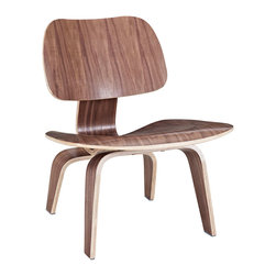 Modern Lounge Chair in Walnut - Graceful, modern, and ergonomic, this chair is a great way to add additional seating to your living room or to round off your home office. Sculpted and mounted with movement-absorbing energy shocks, the natural shine of the veneer exterior is as alluring as it is practical.
