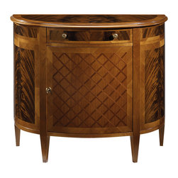 """Inviting Home - Louis XVI Style Inlaid Cabinet - Louis XVI style demilune cabinet with cherry veneer and criss cross mahogany inlay on door flame mahogany veneer on sides and top cherry border one drawer one door one shelf inside and antiqued brass hardware; 41-1/4""""W x 19""""D x 35-1/4""""H hand-made in Italy Hand-crafted Louis XVI style demilune cabinet. This cabinet features cherry veneer and crisscross mahogany inlay on the door cherry border and flame mahogany veneer on sides as well as on the top. Louis XVI cabinet has one drawer one door one shelf inside and antiqued brass hardware. This inlaid cabinet is hand-made in Italy."""