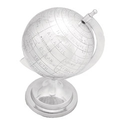 Globe in Silver Finish with Intricate Detail Work - Whether you are looking for the perfect accessory to embrace your lavish conference room or a perfect showpiece for your study. This aluminum decor globe is a perfect addition to your elegant space. Offering a dazzling look made out of the finest quality aluminum metal, every intricate detail has been carefully administered so as to offer nothing but perfection that compliments your elite choice. Its sturdy construction offers it robustness and durability. Easily movable with least maintenance required, this aluminum decor globe emits class and exclusivity. Add it to your elegant decor today!. It comes with a following  dimension
