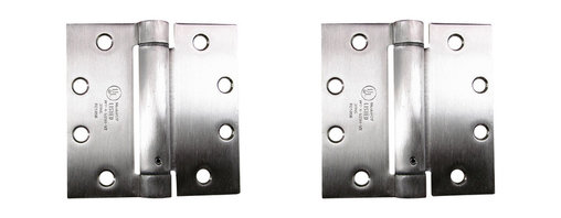 """4.5"""" X 4.5"""" Square Stainless Steel Commercial Spring Hinges - - 4.5 inch x 4.5 inch Square Stainless Steel Commercial Spring Hinges"""