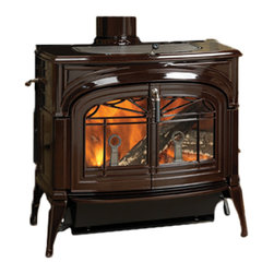 Vermont Castings - Vermont Castings 2042 Encore 2-In-1 Wood Stove - Vermont Castings 0002042 Encore Majolica Brown Cast Iron 2 In 1 Wood Stove