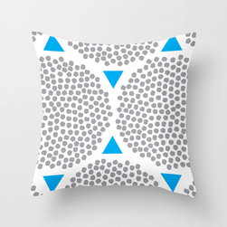 Gravel Pathway Pillow Cover in Blue - Don't you love this lively poplin pillow cover? In three color variations, we think you'll find this bright design, printed with pebbly polygons, looks great standing alone or paired with a bold graphic.