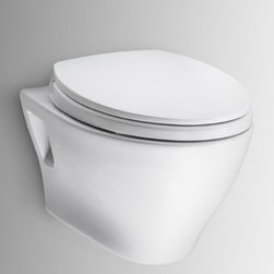 Toto - Toto CT418F#01 Cotton Aquia Aquia One Piece Elongated 1.6 GPF Toilet - Toto Aquia  Wall-Hung Dual-Flush Toilet without SanaGloss When it comes to Toto, being just the newest and most advanced product has never been nor needed to be the primary focus. Toto s ideas start with the people, and discovering what they need and want to help them in their daily lives. The days of things being pretty just for pretty s sake are over. When it comes to Toto you will get it all. A beautiful design, with high quality parts, inside and out, that will last longer than you ever expected. Toto is the worldwide leader in plumbing, and although they are known for their Toilets and unique washlets, Toto carries everything from sinks and faucets, to bathroom accessories and urinals with flushometers. So whether it be a replacement toilet seat, a new bath tub or a whole new, higher efficiency money saving toilet, Toto has what you need, at a reasonable price.  Dual-flush flushing system, low consumption (1.6GPF/6.0LPF & 0.8GPF/3.0LPF) Universal Height Seat not included.  NOTE: Wall-hung toilet can be paired with TOTO in-wall tank system as well as others This universal height, low consumption dual-max flushing system toilet shall be 1.6GPF & 0.8GPF. Toilet shall have optional SanaGloss ceramic glaze. Toilet shall be mounted to in-wall tank system, elongated front bowl and wall-mounted push-button type trip lever.