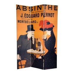 Oriental Unlimited - Double Sided 6 ft. Tall Absinthe & Paris Canv - Express your love for European flair with these 2 magnificent, early 20th century graphic art reproductions. On the front is a poster for  J. Edouard Pernot Absinthe  created by turn of the century graphic design luminary Leonetto Cappiello, hailed by many as 'The Father of Modern Advertising'. The back is an attractive 50's French travel poster, enticing the viewer with the profile of a Parisian flower seller in front of   Arc de Triomphe. These unique works of vintage graphic art will bring that certain  je ne sais quoi  into your living room, bedroom, dining room, or kitchen. This 3 panel screen has different images on each side, as shown. High quality wood and fabric covered room divider. Well constructed, extra durable, kiln dried Spruce wood frame panels, covered top to bottom, front, back, and edges, with tough stretched poly-cotton blend canvas. 2 Extra large, beautiful art prints. Printed with fade resistant, high color saturation ink, creating 2 stunning, long lasting, vivid images, powerful visual focal points for any room. Amazingly inexpensive, practical, portable, decorative accessory. Almost entirely opaque, double layer of canvas, providing complete privacy. Easily block light from a bedroom window or doorway. Great home decor accent for dividing a space, redirecting foot traffic, hiding unsightly areas or equipment, or for providing a background for plants or sculptures, or use to define a cozy, attractive spot for table and chairs in a larger room. Assembly required. 0.75 in. L x 48 in. W x 70.75 in. H