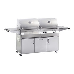 Fire Magic - Aurora A830s1A1N61CB Stand Alone NG Gas & Charcoal Combo Grill - A830 Stand Alone Grill with Single Side Burner & Infrared Burner System A830s Features: Charcoal ignited by additional 26K Btu gas burner