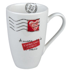 "Konitz - Amore Mio Maxi Mugs, Set of 2 - This sensational mug allows you to start every morning or end every evening, seeing symbols of love staring back at you. The cup, full to the brim with Italian-inspired sentiments, shows its heart (stamp) to you, ""My love."""
