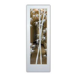 """Interior Glass Doors - Bamboo Shoots Positive - CUSTOMIZE YOUR INTERIOR GLASS DOOR!  Interior glass doors ship for just $99 to most states, $159 to some East coast regions, custom packed and fully insured with a 1-4 day transit time.  Available any size, as interior door glass insert only or pre-installed in an interior door frame, with 8 wood types available.  ETA will vary 3-8 weeks depending on glass & door type.........Block the view, but brighten the look with a beautiful interior glass door featuring a custom frosted glass design by Sans Soucie!   Select from dozens of sandblast etched obscure glass designs!  Sans Soucie creates their interior glass door designs thru sandblasting the glass in different ways which create not only different levels of privacy, but different levels in price.  Bathroom doors, laundry room doors and glass pantry doors with frosted glass designs by Sans Soucie become the conversation piece of any room.   Choose from the highest quality and largest selection of frosted decorative glass interior doors available anywhere!   The """"same design, done different"""" - with no limit to design, there's something for every decor, regardless of style.  Inside our fun, easy to use online Glass and Door Designer at sanssoucie.com, you'll get instant pricing on everything as YOU customize your door and the glass, just the way YOU want it, to compliment and coordinate with your decor.   When you're all finished designing, you can place your order right there online!  Glass and doors ship worldwide, custom packed in-house, fully insured via UPS Freight.   Glass is sandblast frosted or etched and bathroom door designs are available in 3 effects:   Solid frost, 2D surface etched or 3D carved. Visit our site to learn more!"""