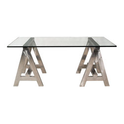 Kathy Kuo Home - Aldo Industrial Style Stainless Steel Modern A-Frame Desk - Style and versatility make this modern industrial desk a rare treasure. With generous, one-inch thick glass, this table looks light and airy but provides ample support for art supplies, computers and other necessities. The striking stainless steel base is crafted into two, sturdy A-frames for a strong, masculine silhouette.