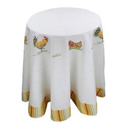 Xia Home Fashions - Hens&Chicks 72-Inch Round Tablecloth - Bright country rooster and baby chicks in yellow striped edge pattern. Bring a little country into your kitchen!