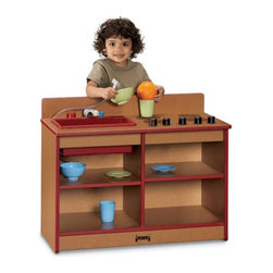"Jonti-Craft - Jonti-Craft SPROUTZ Toddler 2-in-1 Kitchen - 0673JC340 - Shop for Cooking and Housekeeping from Hayneedle.com! Your toddler will enjoy hours of imaginative play with the Jonti-Craft SPROUTZ Toddler 2-in-1 Kitchen. Made of 100% recycled wood fiber this environmentally friendly play kitchen features a range top with four pretend burners and separate turnable knob controls. In addition to the sink with turnable faucet and pull-out sprayer this kitchen offers plenty of cupboard space for play food and dishes. Choose from four edge-banding color options. Other special features include fully rounded KYDZSafe edges and KYDZStrong construction employing the dowel-pin technique which leaves the thickness of the material intact where most of the stress occurs. The KYDZTuff finish resists stains won't yellow cleans easily and is as tough as the coating used on gym floors. Because of its ""green"" construction this toddler kitchen promotes better indoor air quality and may contribute to up to five L.E.E.D. credits. Backed by a five-year manufacturer's warranty."