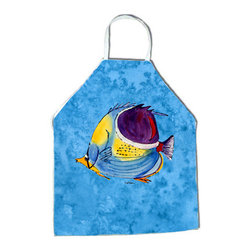 Caroline's Treasures - Fish Tropical Apron 8676APRON - Apron, Bib Style, 27 in H x 31 in W; 100 percent  Ultra Spun Poly, White, braided nylon tie straps, sewn cloth neckband. These bib style aprons are not just for cooking - they are also great for cleaning, gardening, art projects, and other activities, too!