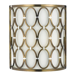 AF Lighting - AF Lighting Candice Olson Cosmo 2-Light Sconce - Hand-Welded Oval Rings with Silver Accents Makes This a Great Addition to Our Cosmo. Finish in Satin Brass with a Cream Poly 1/2 Round Shade that Accents the Oval Rings. Hard-Wired Only.  Overall dimensions are 10 1/2 in. H x 9 1/2 in. W.