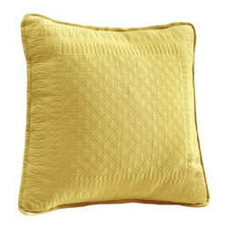 Historic Charleston Collection - King Charles Matelasse Sunshine 18-Inch Square Decorative Pillow-Only - - Steeped in Historic Charleston?s rich classic style and decorative arts culture the King Charles 100% cotton matelass� bedding collection offers a unique blend of European Caribbean and Asian influences.   - King Charles matelass� bedding offers a luxuriously soft bedspread coverlet bed skirt shams and decorative accent pillows featuring classic 19th century motifs representing the sun a topiary a pheasant and a pineapple.   - The superior design of the King Charles matelass� bedding ensemble can be traced back to England circa 1820 incorporating key influences from that time period including the fine arts and superior craftsmanship.   - Each piece is crafted individually on special weaving looms to create the luxurious design that defines this lovely matelass� bedding collection.   - Highs and lows created during the jacquard weaving process allow the intricate designs and motifs to come to life.   - Designs from the archives of Historic Charleston?s heritage were interpreted to create the lovely King Charles bedding set.   - Rolling arches half-moons double diamonds and scrolling vine details wrap around the classic topiary pheasant sun and pineapple motifs.   - Coverlet and bedspread drape beautifully over the bed to reveal rounded corners.   - Pair the bedspread or coverlet with bed skirt to create a complete look.   - Add coordinating decorative shams and pillows to create the ultimate bedroom oasis.   - The heavy-weight stonewashed matelass� of King Charles bedding ensures life-long durability and style for generations to come.   - Crafted in Portugal.   - Stone-washed.   - 100% cotton matelass�.   - The Historic Charleston Foundation was established in 1947 and is a nonprofit organization whose mission is to preserve and protect the historical architectural and material culture that make up Charleston?s rich and irreplaceable heritage.   - No decorative 
