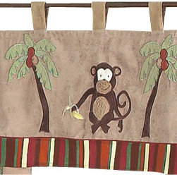 Sweet Jojo Designs - Monkey Window Valance - The Monkey window valance will help complete the look of your Sweet Jojo Designs room. This valance softens the look of the window and obscures pulled up blinds. It will coordinate nicely with your Sweet Jojo Designs bedding or can be used as an accent with your own room design.