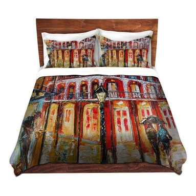 DiaNoche Designs - Duvet Cover Twill - New Orleans French Quarter - Lightweight and soft brushed twill Duvet Cover sizes Twin, Queen, King.  SHAMS NOT INCLUDED.  This duvet is designed to wash upon arrival for maximum softness.   Each duvet starts by looming the fabric and cutting to the size ordered.  The Image is printed and your Duvet Cover is meticulously sewn together with ties in each corner and a concealed zip closure.  All in the USA!!  Poly top with a Cotton Poly underside.  Dye Sublimation printing permanently adheres the ink to the material for long life and durability. Printed top, cream colored bottom, Machine Washable, Product may vary slightly from image.