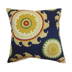 """The Pillow Collection - Obyan Geometric Pillow Blue - Reel in positive energy and good vibes to your home by decorating it with this festive decor pillow. This accent pillow lends a posh finish to your interiors. This square pillow features a bold colored pattern in shades of yellow, green, white, red and blue. Place this 18"""" pillow on your living room or bedroom for an instant makeover. Made from a blend of 95% cotton and 5% linen fabric. Hidden zipper closure for easy cover removal.  Knife edge finish on all four sides.  Reversible pillow with the same fabric on the back side.  Spot cleaning suggested."""
