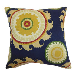 "The Pillow Collection - Obyan Geometric Pillow Blue 18"" x 18"" - Reel in positive energy and good vibes to your home by decorating it with this festive decor pillow. This accent pillow lends a posh finish to your interiors. This square pillow features a bold colored pattern in shades of yellow, green, white, red and blue. Place this 18"" pillow on your living room or bedroom for an instant makeover. Made from a blend of 95% cotton and 5% linen fabric. Hidden zipper closure for easy cover removal.  Knife edge finish on all four sides.  Reversible pillow with the same fabric on the back side.  Spot cleaning suggested."