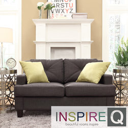 Inspire Q - Inspire Q Cameron Dark Grey Fabric Tufted Sloped Arm Loveseat - Complete your living room decor with the elegant Cameron dark grey loveseat. Featuring a removable seat and back cushions, this comfortable loveseat is filled of a high density foam with an innerspring core to distribute weight evenly.