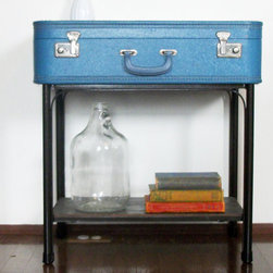 Handmade Blue Suitcase Side End Table by Thee Letter Q Handmade - Add a conversation starter and extra storage to your entryway with this piece. It reminds me that I need to go on a vacation.