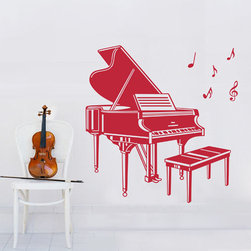 ColorfulHall Co., LTD - Removable Musical Instrument Piano With Chair Music Wall Decals, Rose Red - Removable Musical Instrument Piano with Chair Music Wall Decals