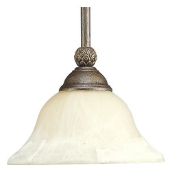Progress Lighting - Progress Lighting Savannah Traditional Mini Pendant Light X-68-0405P - Progress Lighting made the Savannah Traditional Mini Pendant Light clean and timelessly detailed. It features a Burnished Chestnut steam that is meticulously detailed with fine leaf patterns. The shade is Antique Alabaster to diffuse light in an elegant manner.