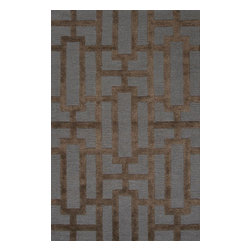 Jaipur Rugs - Hand-Tufted Geometric Pattern Wool/Art Silk Blue/Brown Area Rug (3.6 x 5.6) - Over scaled sharp geometrics characterize this striking contemporary range of hand tufted rugs. The high/low construction in wool and art silk creates texture and surface interest and gives a look of matt and shine.