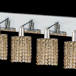 Elegant Lighting - Mini Round Chrome Four-Light Bath Fixture with Royal Cut Golden Teak Smoky Cryst - Royal Cut crystal is a combination of high quality lead free machine cut and machine polished crystals and full-lead machined-cut crystals to meet a desirable showmanship of an authentic crystal light fixture.  -Recommended to be professionally hung and supported independently of the outlet box. Consult an electrician for guidance to determine the correct hanging procedure.  -Crystals may ship separately and some assembly is required.  -Depending on the size & design the assembly can be time consuming, but is well worth the effort. Elegant Lighting - 1284W-O-R-GT/RC