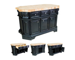"""Hardware Resources - Lyn Design Kitchen Island - Kitchen Island by Lyn Design. Featuring soft-close undermount slides on drawers, soft-close European hinges, fully adjustable shelves, wine rack, and acanthus corbels. DIMENSIONS: 57-1/2"""" x 33-3/4"""" x 34-1/8"""" FINISH: DBK Distressed Black with 1099BNBDL hardware. Top sold separately (ISL06-TOP)"""