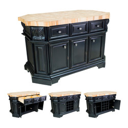 "Hardware Resources - Lyn Design Kitchen Island - Kitchen Island by Lyn Design. Featuring soft-close undermount slides on drawers, soft-close European hinges, fully adjustable shelves, wine rack, and acanthus corbels. DIMENSIONS: 57-1/2"" x 33-3/4"" x 34-1/8"" FINISH: DBK Distressed Black with 1099BNBDL hardware. Top sold seperately (ISL06-TOP) -"