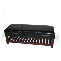 4D Concepts - 4D Concepts Large Faux Leather Bench with Lift Top in Black - What a beautifully crafted upholstered storage bench. This bench is perfect for any den, living room, entry way, bedroom, or nook in the home. Not only will this unit meet your storage needs, it will also meet your seating needs. The large black faux leather top, which comes with a locking hinge, opens to a fully lined storage area that is great for storing blankets, gloves, scarf's, or whatever your needs might be. The thick solid wood legs and bottom shelf are finished in a rich espresso finish and the slotted bottom is great for storing baskets, shoes, or what ever your needs might be. Constructed of wood and pvc fabric. Clean with a dry non abrasive cloth. Assembly required.