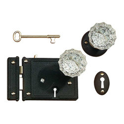 """Renovators Supply - Rim Locks Black Steel/Zinc Black Steel/Zinc 5"""" x 3 1/4 Rim Lock - Rim Latch This Black Steel/Zinc, Rim Latch locks with a skeleton key to activate a deadbolt. Rose, scalloped glass knobs and a pair of skeleton keys included. Size is 5""""x3 1/4""""."""