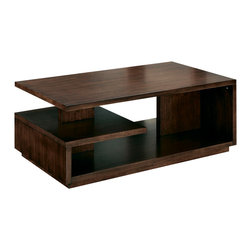 Hammary - Hammary Maze Rectangular Cocktail Table in Mid-Tone Walnut - Belongs to Maze Collection by Hammary, MidTone Walnut finish, Bottom Shelves, Cocktail Table 1