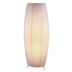 Adesso - Adesso Suki Contemporary Floor Lamp - Each has a collapsible bamboo-ribbed white rice paper lantern with three small chrome feet. Lantern is lined with a second layer of rice paper, creating a softer, more diffused light. Foot step switch. 2 x 75 Watt incandescent or equivalent CFL bulbs.