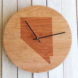 Wood Wall Clock (maple) - WY - Custom clock made with either solid cherry (darker) or solid maple (lighter) wood. A beautiful modern display on wood grain with a striped pattern silhouette of your state! The perfectly thoughtful gift for newlyweds, housewarming or the holidays! *******This clock comes with all the parts needed ******* The hands are reversible for either black OR white, so you will not need to chose upon checkout. It will require one AA battery to operate (NOT INCLUDED). The hands come disassembled, but will include short instructions for fast, easy installation.