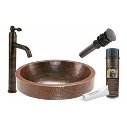 Premier Copper Products - Oval Skirted Copper Vessel w/ORB Vessel Faucet - BSP1_VO18SKDB Premier Copper Products Oval Skirted Vessel Hammered Copper Sink with ORB Single Handle Vessel Faucet, Matching Drain and Accessories