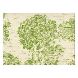 "Close to Custom Linens - 24"" Tailored Tiers, Unlined, Toile Apple Green - ""I spy with my little eye ..."" You'll spot something new each time you gaze at the vivid imagery on these beautiful toile fabric curtains. Let the search continue with a matching valance, pillow shams and tablecloth."