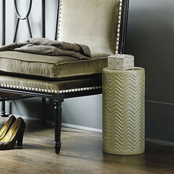 Ballard Designs - Chevron Garden Seat - Light-weight pull-up seat. Petite garden seat. With its petite, upright shape, our Chevron Garden Seat nestles perfectly beside a chair or next to the bathtub. It's hand crafted of high-fired ceramic with carved chevron pattern that adds rich visual texture. Chevron Garden Seat features: . .
