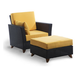 All Things Cedar - All Things Cedar PR2530 Rattan Deep Chair/Ottoman Set, Yellow - Comes with lined and zippered Deep Seat Cushion - available in 6 colors. Cushions made of weather resistant polyester fabric and 5.5 inches of high density foam. Heavy-gauge aluminum tube frame - no rust. Welded aluminum joints are ground and polished. UV inhibitors repel the damaging effects of the sun & harsh weather - maintenance free. Wicker strapping is synthetic resin and hand wrapped for a natural, softer feel.     Color:   deep brown/black webbing w/ solid teak legs  Dimensions:   Ottoman ( 27 x 27 x 17 ) Arm Chair ( 33 x 33 x 34 ) in. (w x d x h)