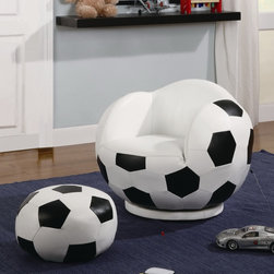 Coaster - Small Kids Soccerball Chair - Small Kids Soccerball Chair imitates the look of a soccer ball, creating a fun and unique look that friends will admire! Baseball, basketball and football chairs are also available.
