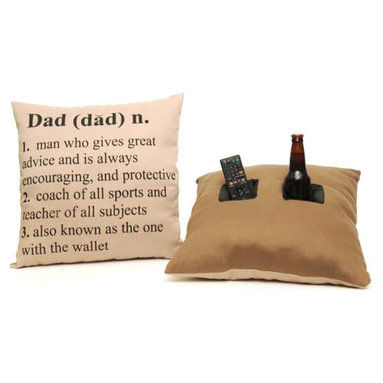 Double Pocket Pillow, Dad Defnition - The Double Pocket Pillow does much more than lie around on the couch! Each Double Pocket Pillow has two (2) deep, insulated nylon pockets that are perfect for holding your remote control as well as your favorite beverage. The insulated pockets keep your beverages cold and secure so they won't spill. One pocket is the perfect size for holding soda cans, water bottles and beer bottles, while the other is just the right size to hold a remote control, cell phone or even a snack. The Double Pocket Pillow can even be used to prop up a kindle, iPad or book.