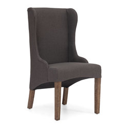 ZUO ERA - Marina Armchair Charcoal Gray - Here's a classic chair with a modern twist. The fashionable armchair — available in beige or charcoal linen — boasts a traditional wing back design with a contemporary curved base and weathered oak legs. It'll add a modern flair to your living room.