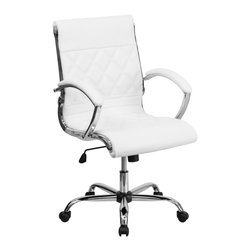 Flash Furniture - Flash Furniture Office Chairs Leather Executive Swivels X-GG-ETIHW-DIM-M7921-OG - This elegant office chair will add an upscale appearance to your office with its attractive stitched seat and back. The comfort molded seat has built-in lumbar support and features a locking tilt mechanism for a mid-pivot knee tilt. If you're looking for a modern office chair that provides a sleek look, then the Designer Upholstered Leather Office Chair by Flash Furniture delivers. [GO-1297M-MID-WHITE-GG]