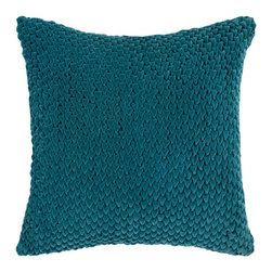 "Surya P0275-1818P 100% Cotton 18"" x 18"" Decorative Pillow - This solid textural pillow gives your space a fun, new look. The color teal green accents this decorative pillow. This pillow contains a poly fill and a zipper closure. Add this 18"" x 18"" pillow to your collection today. Filler: Poly Fiber. Shape: Square"