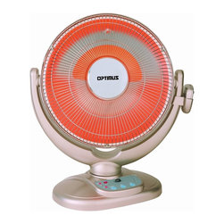 Optimus - Heater 14-Inch Dish Remote Control Oscillating Fan - Here's a heater that can really dish it out. It's equipped with a lot of cool features to keep your space nice and toasty. And, you'll appreciate the tip-over safety switch, the overheat thermal cut-off and the cool-touch housing, too.