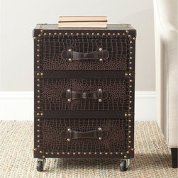 Safavieh - Safavieh Llyoyd Brown 3-Drawer Rolling Chest - Welcome to the global economy. The Lloyd Three-Drawer Rolling Chest with luscious dark brown faux crocodile and brass-finished iron nailheads is perfect for the executive office or the day-to-day armchair traveler