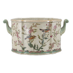 Oriental Danny - Porcelain planter - Hand painted porcelain planter with elegant bird pattern. Great for flower arrangement