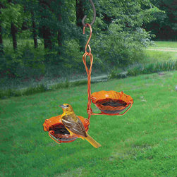 Songbird Essentials - Copper Oriole Jelly Feeder Double Cup - Easy screw on orange coils that hold oranges more securely than simple cups. Copper clips that hold the jelly bowls securely while making it easy to remove to clean or fill.