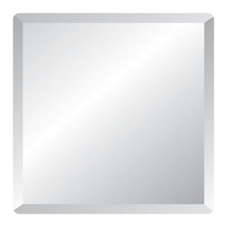 "Spancraft - Square Frameless Wall Mirror, 24"" - The Square Frameless Mirror is one of the most classic designs that can be hung on it's own or use multiple mirrors to arrange into a larger square or other decorative layout. There are four size options available. The small square mirror is 18"" and also available in 24"", 30"" and the large size is 36"". This mirror is ¼ inch thick and made of high quality clear tempered glass featuring a 1"" beveled edge, which adds a smooth slight angle on the top edge of the mirror and is soft to the touch. The corners are rounded with a 1"" edge as well. This traditional unframed decorative mirror comes with a vinyl safety backing, 2 standard hooks & 2 adhesive bumpers bonded to the back and includes all of the hardware needed to properly hang the mirror on the wall. This elegant bevel edge wall mirror is perfect with any décor and versatile. Perfect for your bedroom, dining room or hang this square unframed mirror above your bathroom sink for an elegant and modern look."