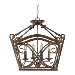 "Lamps Plus - Traditional Reserve Collection 20 1/2"" Wide 4-Light Foyer Chandelier - Rustic and traditional this foyer chandelier is made in the classic lantern style. Four candelabra lights peek out from behind a detailed cage. It adds a warm antique feel to your entryways. Rustic finish. Takes four 60 watt candelabra bulbs (not included). Includes 10 ft chain and 15 ft wire. Canopy is 5"" wide. 20 1/2"" wide. 22"" high. Hang weight is 19 lbs.  Rustic finish.   Takes four 60 watt candelabra bulbs (not included).   Includes 10 ft chain and 15 ft wire.   Canopy is 5"" wide.   20 1/2"" wide.   22"" high.   Hang weight is 19 lbs."